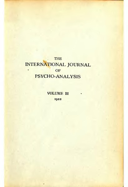 File:The International Journal of Psycho-Analysis III 1922 1.djvu
