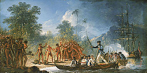 Vanuatu - James Cook landing at Tanna island, c. 1774