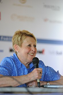Mem Fox speaking to audience, 2014