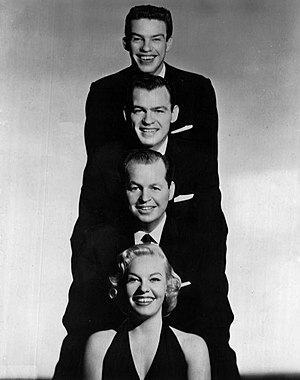 Jaye P. Morgan - Morgan was not the only vocalist in her family.  Three of her brothers were also singers.  From top: Dick, Duke and Charlie with Jaye P., for a 1959 appearance on The Jimmy Dean Show.