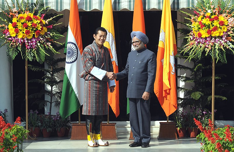 File:The Prime Minister, Dr. Manmohan Singh meeting the King of Bhutan, His Majesty Jigme Khesar Namgyel Wangchuck, in New Delhi on January 25, 2013.jpg