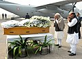 The Prime Minister, Shri Narendra Modi paying homage at the mortal remains of Shri Mufti Mohammad Sayeed, at Palam Airport, in New Delhi on January 07, 2016. The Union Home Minister, Shri Rajnath Singh is also seen (1).jpg