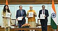 The Prime Minister, Shri Narendra Modi releasing the Platinum Jubilee Milestone book on Tata Memorial Centre, in New Delhi on May 25, 2017. Shri Ratan Tata and other dignitaries are also seen.jpg