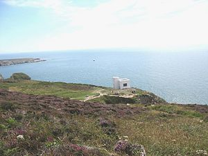 Royal Society for the Protection of Birds - South Stack reserve, Anglesey, with Ellin's Tower, housing a visitor centre