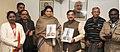 The Union Minister for Human Resource Development, Smt. Smriti Irani releasing book on great Tamil sage Thiruvalluvar by Shri Tarun Vijay, Member of Rajya Sabha, in New Delhi on January 07, 2015.jpg