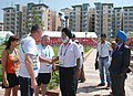 The Union Minister of Youth Affairs and Sports, Dr. M.S. Gill meeting the members of North Ireland, during his visit to the Commonwealth Games Village, in New Delhi on September 29, 2010.jpg