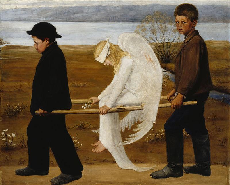 天使の絵画傷付いた天使