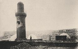 The eastern side of the Shah Mosque Minaret 1918.jpg