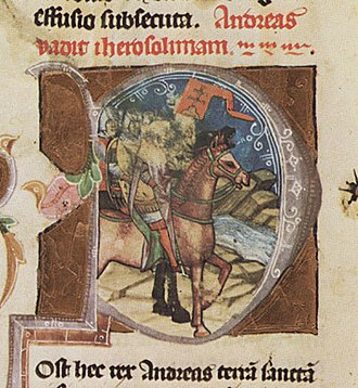 Andrew II of Hungary - Andrew at the head of his crusader army (from the Illuminated Chronicle)