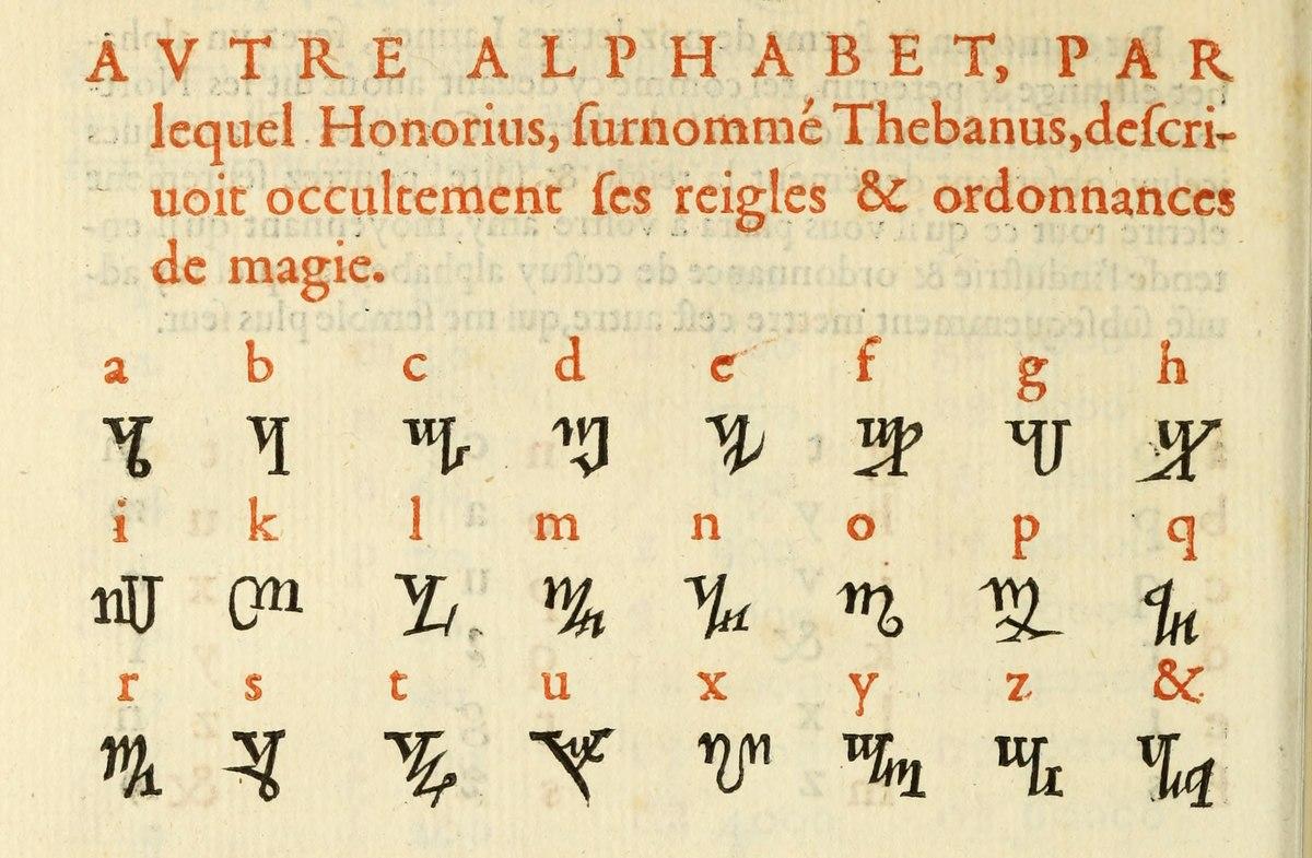 Theban Alphabet Wikipedia
