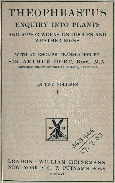 Theophrastus Enquiry into Plants Hort 1916