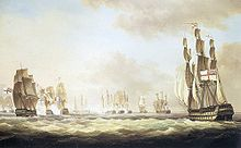 Four large sailing ships in the foreground are advancing through choppy grey seas towards at least eight other ships in the background engaged in combat