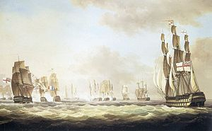 Atlantic campaign of 1806 - The Battle of San Domingo, 6 February 1806, with H.M.S. Canopus Joining the Action, Thomas Lyde Hornbrook