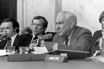 Congress oversees other government branches, for example, the Senate Watergate Committee, investigating President Nixon and Watergate, in 1973-74. ThompsonWatergate.jpg