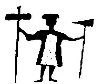 Horagalles - Depiction of Horagalles from a Sami shaman drum found in Norway. The drum symbols were copied by the Christian priest Thomas von Westen in the 18th century.