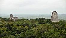 Templi della città Maya di Tikal (IV secolo a.C.) emergono dalla giungla del Guatemala settentrionale. Tikal era la capitale di uno dei più potenti regni dell'epoca Maya