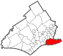 Location of Tinicum Township in Delaware County