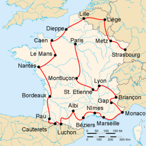 1953 Tour de France - Route of the 1953 Tour de France Followed counterclockwise, starting in Strasbourg and finishing in Paris