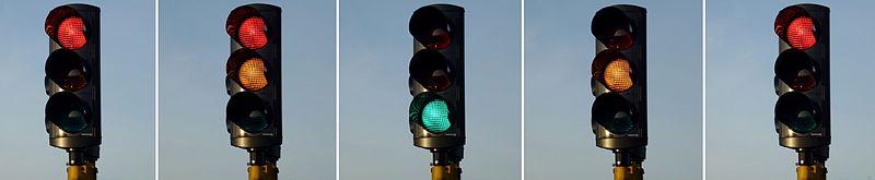 """Lysregulering fra rødt til grønt og tilbage, såkaldt """"engelsk signalveksling"""" som gælder i Sverige siden 1999."""