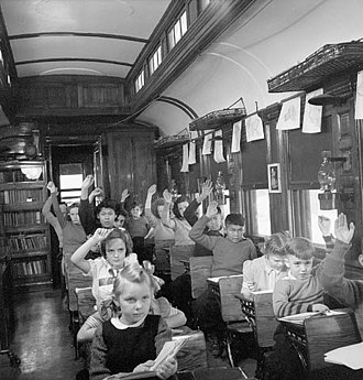 Education in Canada - 1950 Canadian School Train. Pupils attend classes at Nemegos near Chapleau, Ontario.