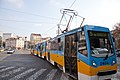Tram in Sofia near Russian monument 062.jpg
