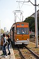 Tram in Sofia near Russian monument 085.jpg