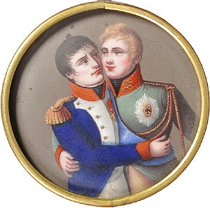 Treaties of Tilsit - A French medaillon dating from the post-Tilsit period. It shows the French and Russian emperors embracing each other.