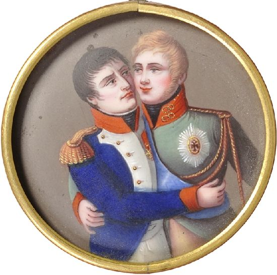 A French medallion dating from the post-Tilsit period. It shows the French and Russian emperors embracing each other. Treaties of Tilsit miniature (France, 1810s) side A.jpg