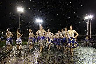 Póvoa de Varzim Holiday - Bairro Norte Tricana girls in the Rusgas competition in Varzim Stadium.