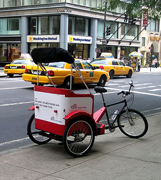 Vehicle for hire - Cycle rickshaw in New York City
