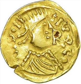 Saint Judicael - A gold coin minted by Judicael in the 630s.