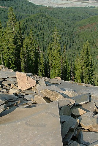 History of the Burgess Shale - The view from the Mount Stephen trilobite beds, with anomalocaridid claws visible on a slab in the foreground, the Canadian Pacific Railway is visible in the distance.