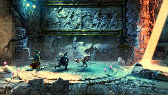 Trine 2 - The three heroes of the Trine series depicted in Trine 2