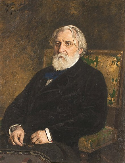The novelist Ivan S. Turgenev made the term nihilism popular. Turgenev by Repin.jpg