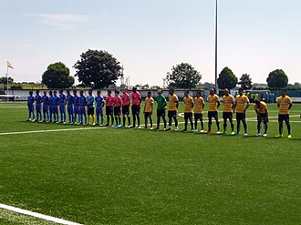 Chagos Islands national football team - Chagos Islands and Tuvalu line up before their match in June 2018
