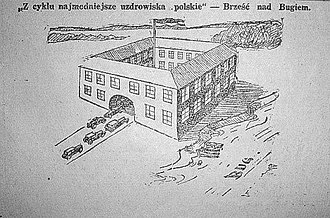 "Polish legislative election, 1930 - Satirical drawing  from ""Hasło Łódzkie"" newspaper, 5 October 1930. The text: ""From the series: 'Most popular Polish spa towns' - Brest-on-the-Bug."" The picture is a reference to the Brest trial and the ""Brest elections"", when many Polish politicians of the Centrolew party were imprisoned in the Brest Fortress (pictured)."