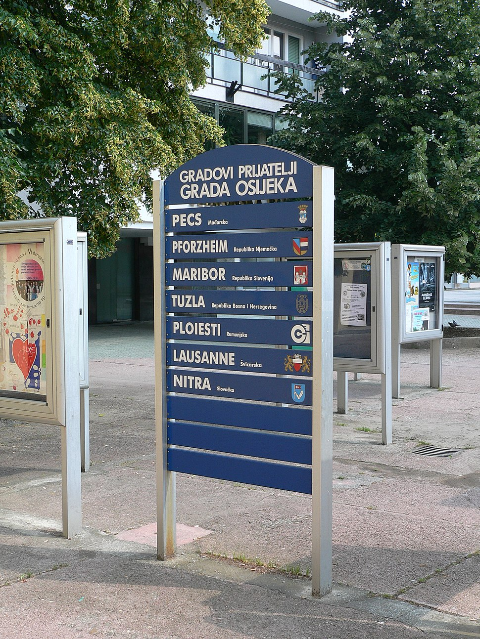 Twin towns sign, Osijek