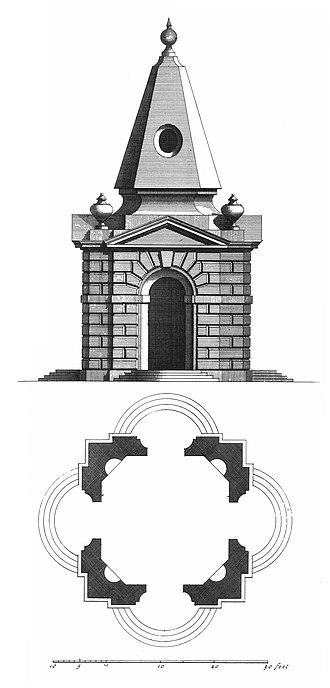 James Gibbs - Design for the pavilions at Stowe; the stone pyramidal roof is no longer atop either pavilion