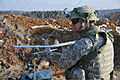 U.S. Army Spc. Joshua Phan, an armor crewman with India Troop, 3rd Squadron, 2nd Cavalry Regiment, conducts preflight checks on an RQ-11 Raven unmanned aerial vehicle during training in Hohenfels, Germany 130316-A-ZR192-621.jpg