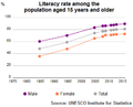 UIS Literacy Rate Tunisia population plus15 1985 2015.png
