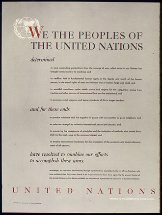 United Nations Charter - World War II poster from the United States on the UNITED NATIONS – PREAMBLE TO THE CHARTER OF THE UNITED NATIONS