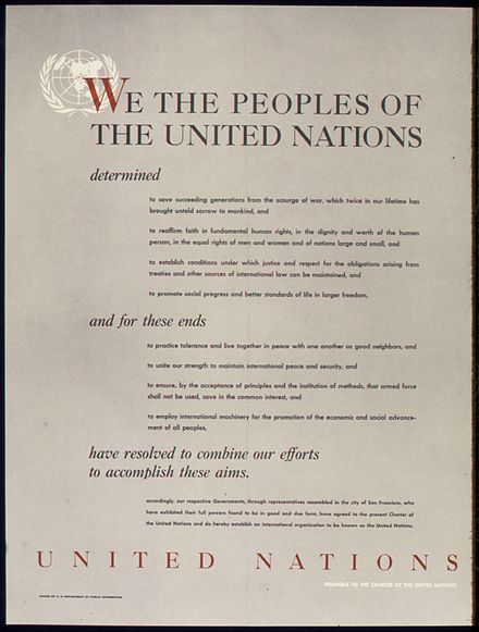 World War II poster from the United States on the UNITED NATIONS - PREAMBLE TO THE CHARTER OF THE UNITED NATIONS UNITED NATIONS - PREAMBLE TO THE CHARTER OF THE UNITED NATIONS - NARA - 515901.jpg
