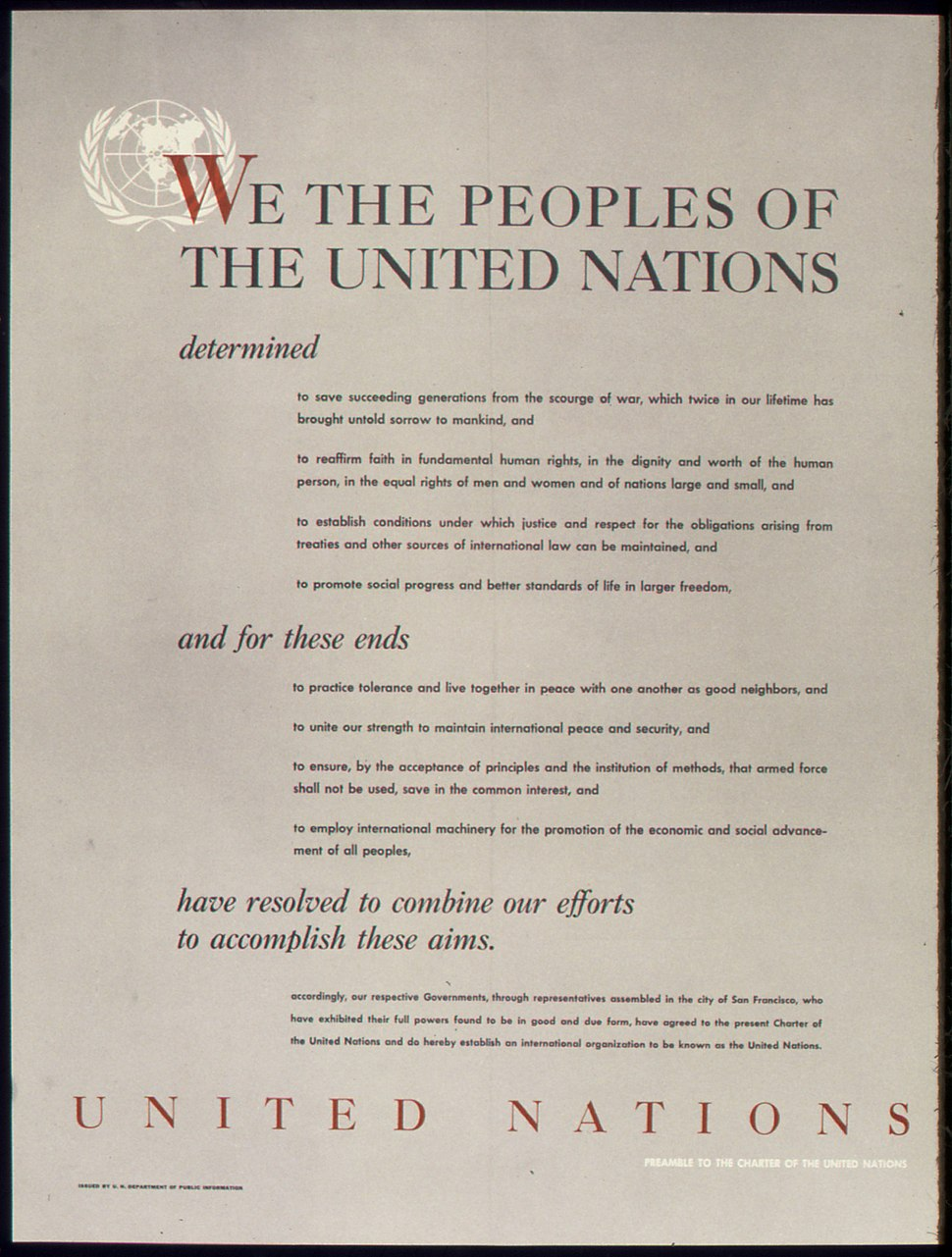 UNITED NATIONS - PREAMBLE TO THE CHARTER OF THE UNITED NATIONS - NARA - 515901