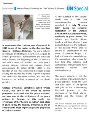Allaman Castle - Image: UN REPORT CASTLE OF PEACE COLUMN