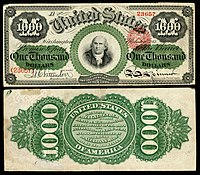 $ 1,000 Legal Tender note, Series 1862–63, Fr.186e, representando Robert Morris.