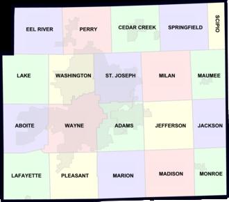 Allen County, Indiana - Allen County townships.
