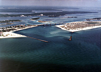 Perdido River - Perdido Pass, the mouth of the Perdido River and Perdido Bay at Orange Beach, Alabama. Alabama State Route 182 crosses the inlet.