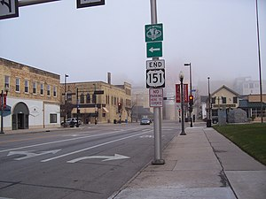 U.S. Route 151 - The northeast terminus at US 10 in Manitowoc