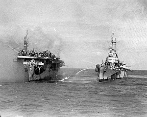USS Birmingham (CL-62) - Image: USS Birmingham comes alongside the burning USS Princeton