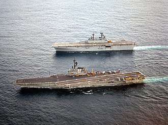 USS Wasp (LHD-1) - Image: USS Coral Sea (CV 43) and Wasp (LHD 1) underway in 1989